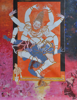 Narasimhavatara by Giridhar Gowd, Traditional Painting, Acrylic on Canvas, Brown color