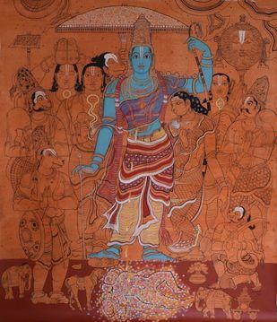 Sri Ramavatara by Giridhar Gowd, Traditional Painting, Acrylic on Canvas, Brown color