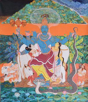 Sri Krishnavatara by Giridhar Gowd, Traditional Painting, Acrylic on Canvas, Brown color