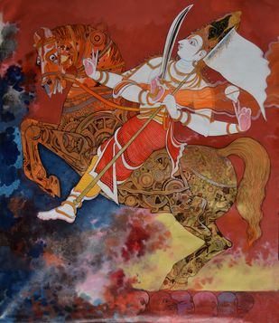 Kalkyavatara by Giridhar Gowd, Traditional Painting, Acrylic on Canvas, Brown color