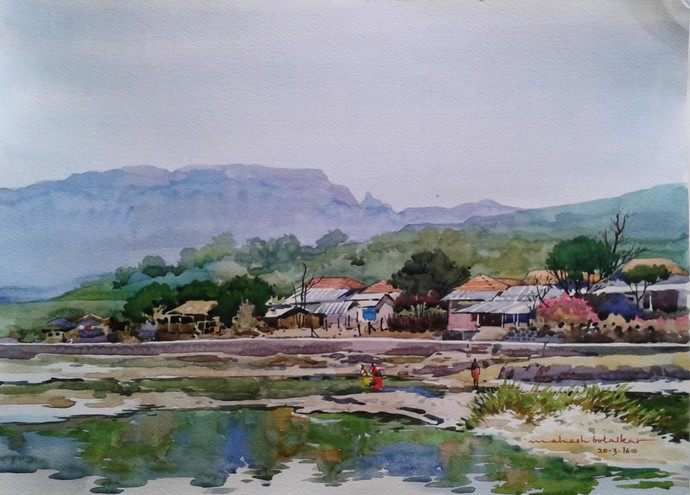 peace by Mahesh Bolaikar, Impressionism Painting, Watercolor on Paper, Pink color
