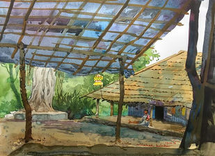 Chinch paada by Mahesh Bolaikar, Impressionism Painting, Watercolor on Paper, Green color