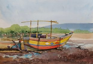 Relax by Mahesh Bolaikar, Impressionism Painting, Watercolor on Paper, Brown color