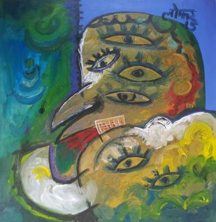 Pair's by yashpal gambhir, Expressionism Painting, Acrylic on Canvas, Green color