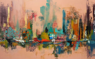 Wilting Empire by Sheetal Singh, Abstract Painting, Acrylic on Canvas, Brown color