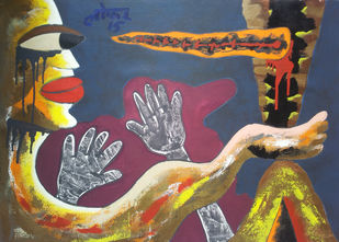 Blind Meditation-1 by yashpal gambhir, Expressionism Painting, Acrylic on Canvas, Brown color