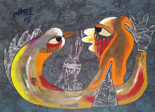 Blind Meditation-2 by yashpal gambhir, Expressionism Painting, Acrylic on Canvas, Brown color