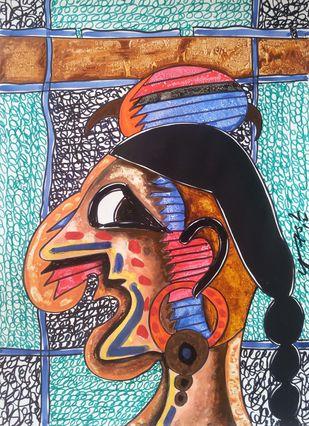 Moksh-19 by yashpal gambhir, Impressionism Painting, Mixed Media on Paper, Brown color
