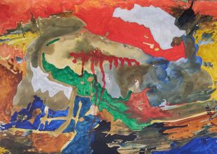 Nature-23 by yashpal gambhir, Abstract Painting, Mixed Media on Paper, Brown color