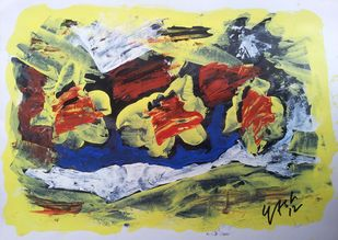 Dancing of colour by yashpal gambhir, Abstract Painting, Acrylic on Paper, Beige color