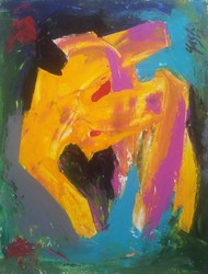 Respect of the Art-21 by yashpal gambhir, Abstract Painting, Acrylic on Paper, Brown color