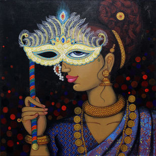 Mask 1 by Varsha Kharatmal, Expressionism Painting, Acrylic on Canvas, Brown color