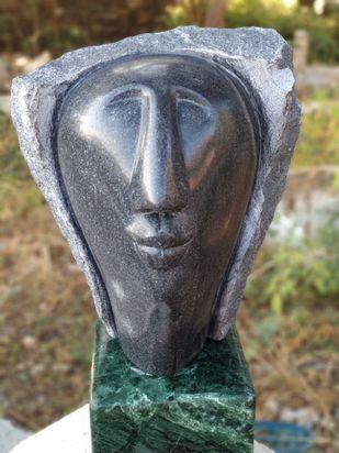 Head_1 by Amit Kumar Singh, Art Deco Sculpture | 3D, Marble, Brass & Jaisalmer Stone, Brown color