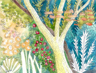 Tree in a forest Digital Print by Shalini Sinha,Impressionism