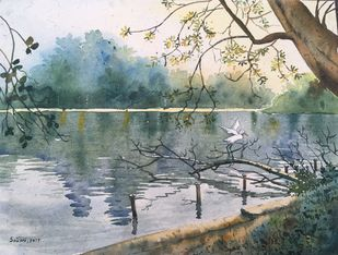 reflection by SOUMI JANA, Impressionism Painting, Watercolor on Paper, Green color