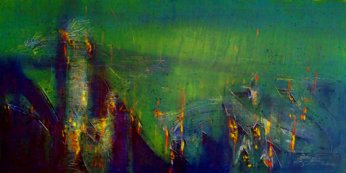 Untitled by Dnyaneshwar Dhavale , Abstract Painting, Acrylic on Canvas, Blue color