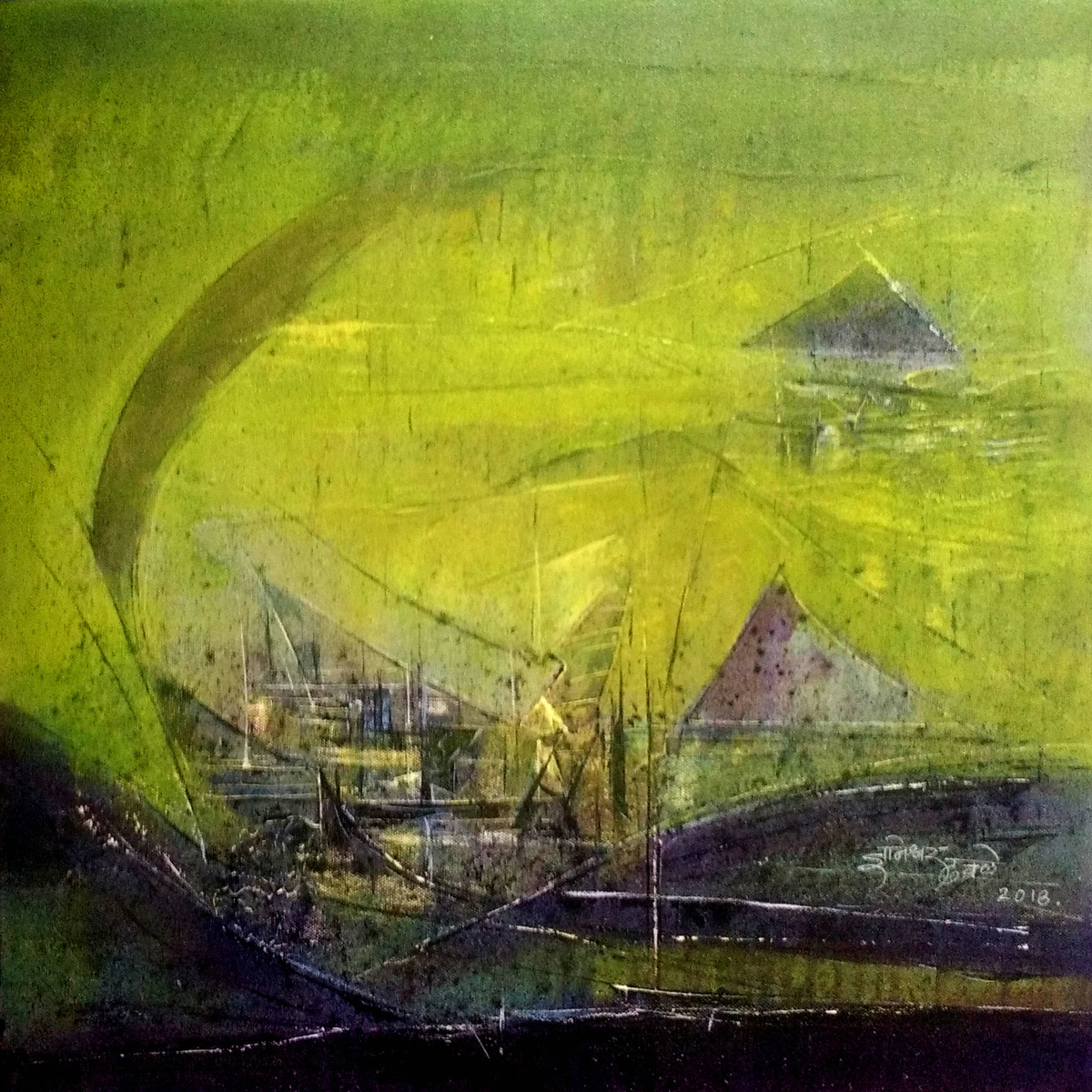 Untitled by Dnyaneshwar Dhavale , Abstract Painting, Acrylic on Canvas, Green color