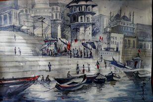 Varanasi Ghat 2 by Krishnendu Halder, Impressionism Painting, Watercolor on Paper, Gray color