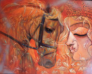 WARRIOR by Subrata Ghosh, Expressionism Painting, Acrylic on Canvas, Brown color