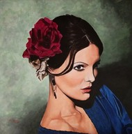 Beautiful Lady by Nilofar Ansari, Expressionism Painting, Acrylic on Canvas, Green color