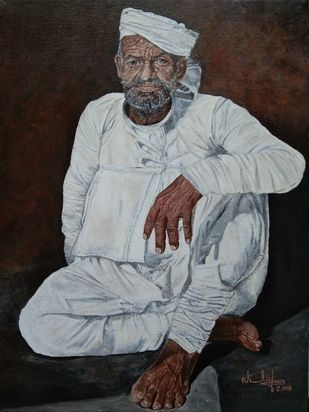 Old Indian Man by Nilofar Ansari, Expressionism Painting, Acrylic on Canvas, Gray color