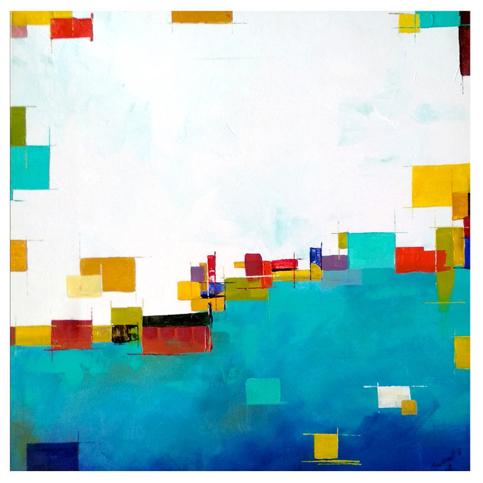 Blue Abstract by Sushant Patil, Geometrical Painting, Acrylic on Canvas, Cyan color