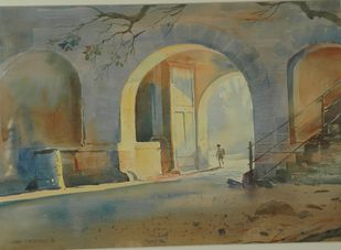Early Bird by John Fernandes, Impressionism Painting, Watercolor on Paper, Brown color