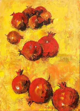 Still Life with Anar (Pomegranates) (Indian Summer)-IV by Animesh Roy, Expressionism Painting, Acrylic on Canvas, Orange color