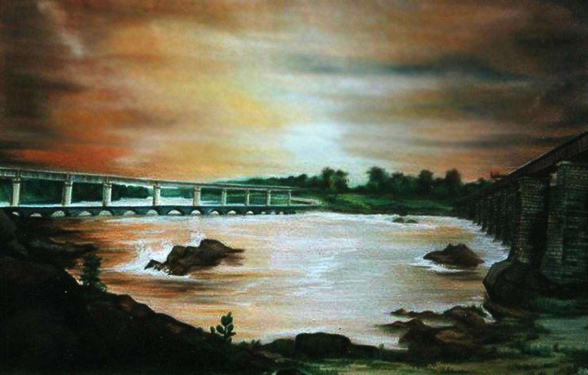 3 bridges Digital Print by BANSI LAL KETKI,Impressionism