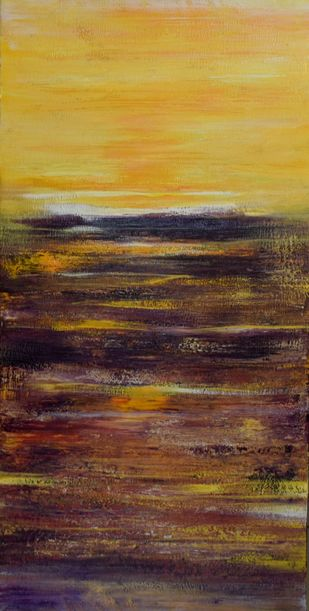 The Golden Horizon by Mahesh Sharma, Abstract Painting, Acrylic on Canvas, Brown color