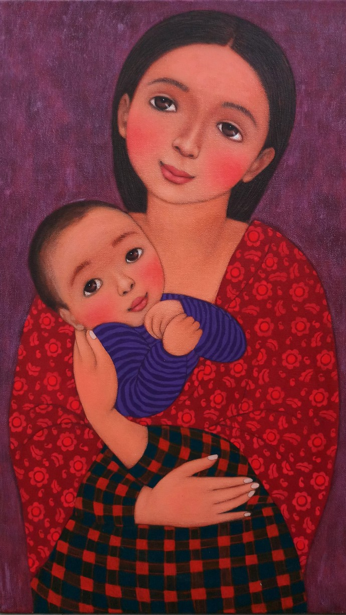 Lullaby 1 by Meena Laishram, Expressionism Painting, Acrylic on Canvas, Brown color