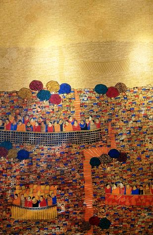 City Scape I by Ramakrishna Vasanthula, Abstract Painting, Acrylic on Canvas, Brown color