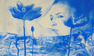 THE LOTUS / HIGH VIBRATIONS EMITTER by Varun Kapoor, Expressionism Painting, Acrylic on Canvas, Blue color