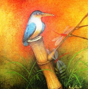 Untitled I by Bratin Khan, Impressionism Painting, Tempera on Canvas, Orange color