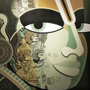 Lord Rama III by Bolgum Nagesh Goud, Expressionism Painting, Acrylic & Ink on Canvas, Beige color