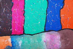 Shadows by Najmuddin Kachwala, Abstract Painting, Acrylic on Canvas, Cyan color