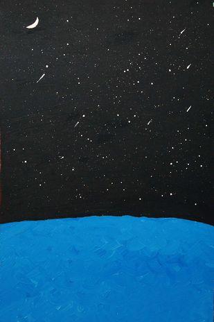 Dark Night by Najmuddin Kachwala, Abstract Painting, Acrylic on Canvas, Gray color