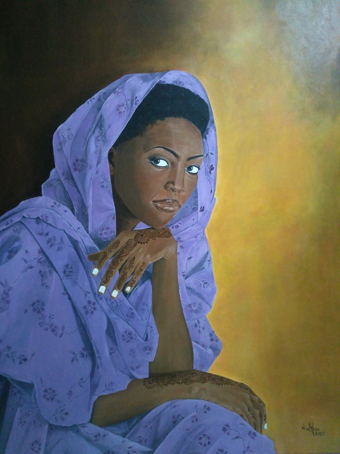 Beautiful Woman by Nilofar Ansari, Expressionism Painting, Oil on Canvas, Blue color