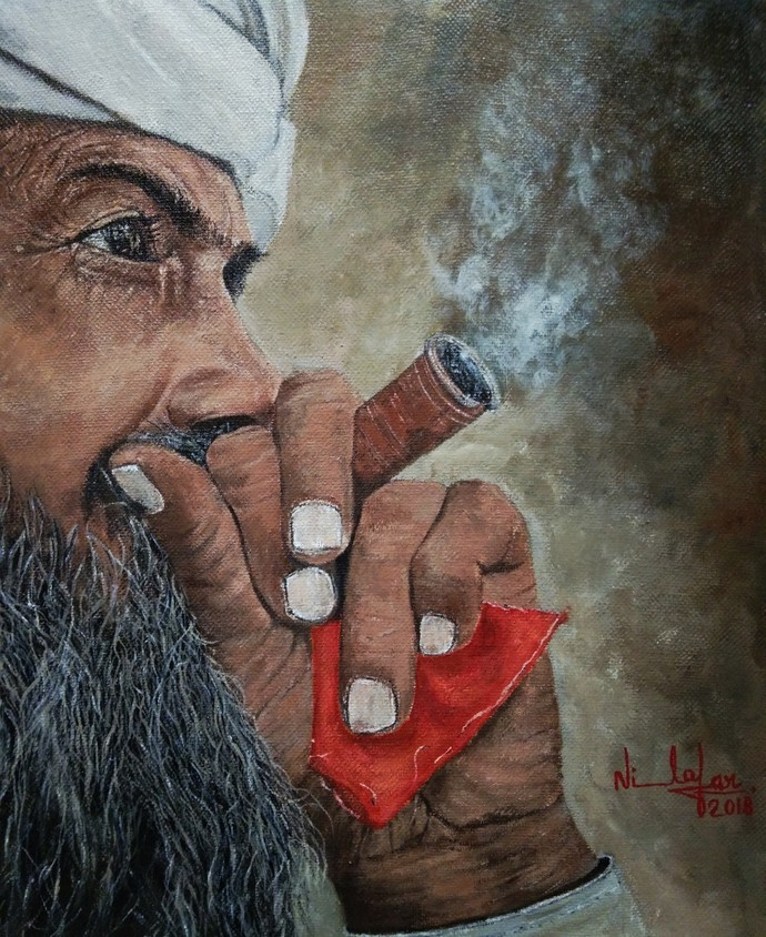 Man with Hookah by Nilofar Ansari, Expressionism Painting, Acrylic on Canvas, Brown color