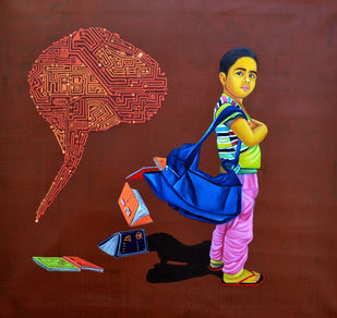 Over Development by Jitendra Saini, Painting, Acrylic on Canvas, Brown color