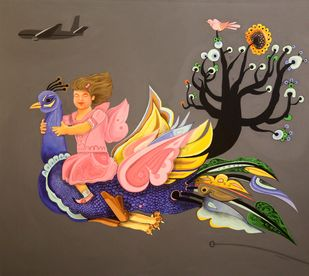 Dreaming by Prittam Priyalochan, Fantasy Painting, Acrylic on Canvas, Brown color