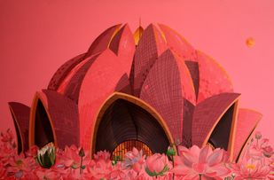 The Lotus Temple by Prittam Priyalochan, Expressionism Painting, Acrylic on Canvas, Red color