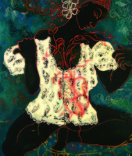 Self reflection by Sudatta Basu, Expressionism Painting, Mixed Media on Canvas, Green color