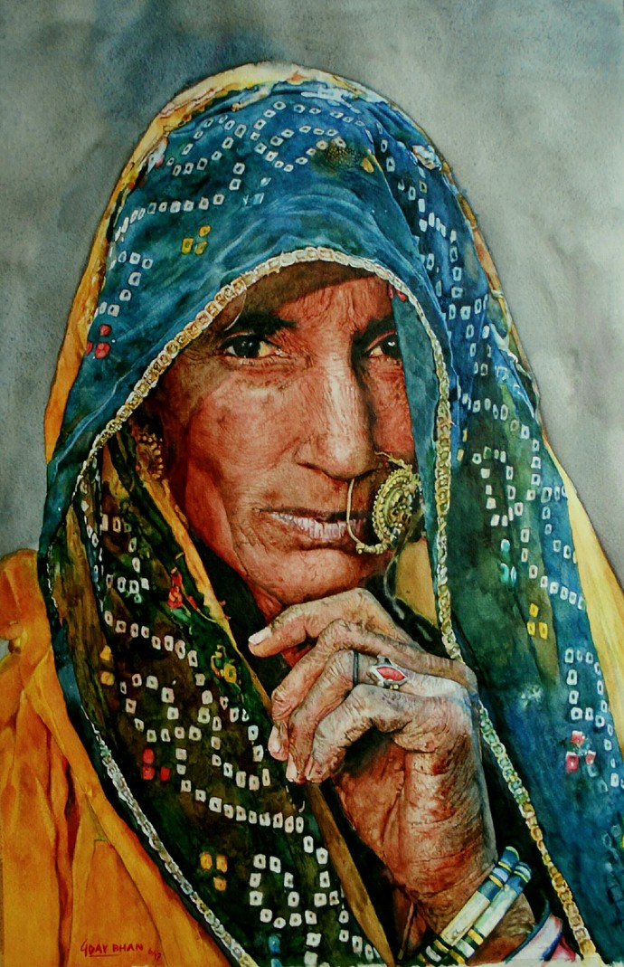 Veil of a softer light by Uday Bhan, Impressionism Painting, Watercolor on Paper, Green color