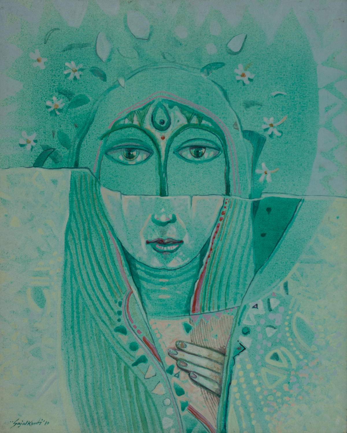 Two face by Sajal K. Mitra, Expressionism Painting, Acrylic on Board, Green color