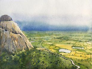joychandi hills by SOUMI JANA, Impressionism Painting, Watercolor on Paper, Cyan color