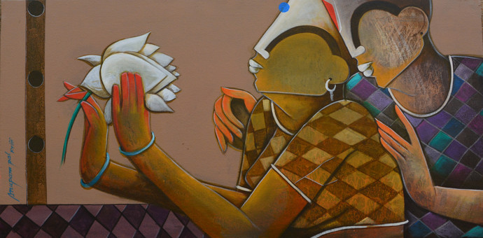romantic couple by anupam pal, Decorative Painting, Acrylic on Canvas, Brown color