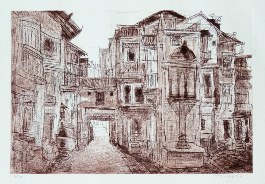 untited by Vrindavan Solanki, Impressionism Painting, Etching on Paper, Brown color