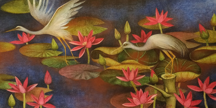 untitled by Bratin Khan, Traditional Painting, Tempera on Canvas, Brown color