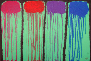 Melting of Colours by Najmuddin Kachwala, Abstract Painting, Acrylic on Canvas, Green color